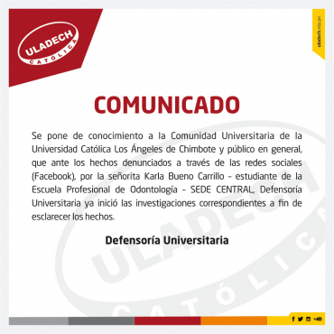 Comunicado: Defensoría Universitaria